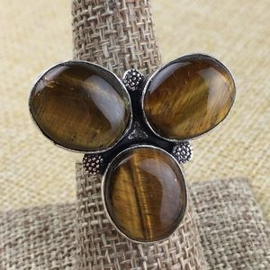 Tigers Eye Stone Cluster Ring Size 7 1/4 - 7 1/2